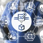 3d printing medicine health care concept. Transplantation printer, medical production organ. Medication transplanting technology. Three-dimensional print transplant